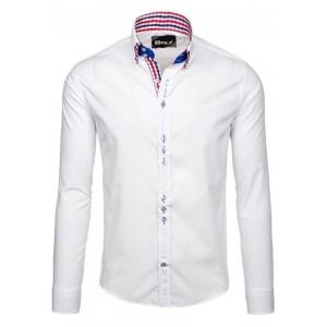 Bílé elegantní pánské košile s dlouhým rukávem