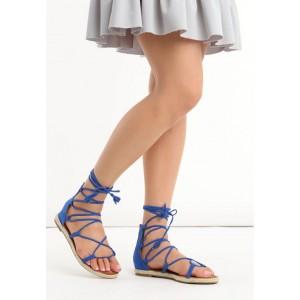 Trendy modré gladiátorky s opletením podrážkou