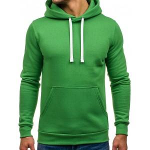 Bavlněné pánské mikiny s kapucí zelené barvy
