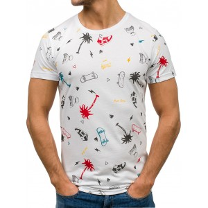 Bílé pánské tričko s krátkým rukávem