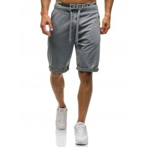 Šedé pánské krátké kalhoty s kapsami na zip