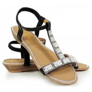 Černé dámské sandály s kamínky