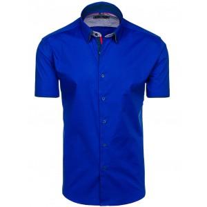 Modré pánské košile s krátkým rukávem