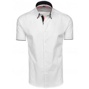 Pánské bílé košile s krátkým rukávem a lemováním