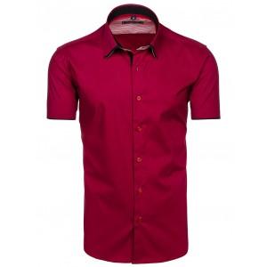 Bordové pánské košile s krátkým rukávem bavlněné