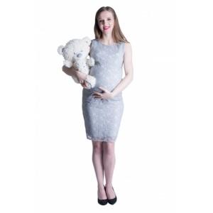 Šedé těhotenské šaty s krajkou na oslavu