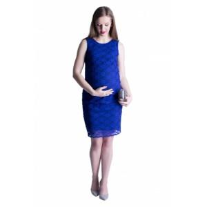 Tmavě modré společenské těhotenské šaty s krajkou