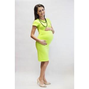Letní žluté těhotenské šaty s krátkým rukávem