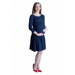 Modré těhotenské šaty s nařasenou sukní