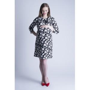 Vzorované bílé těhotenské šaty na oslavu