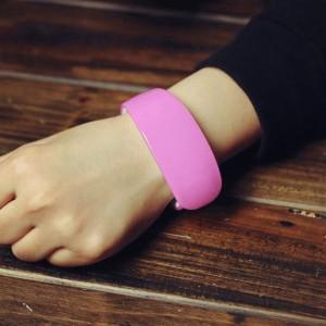 Růžové dámské silikonové hodinky LED