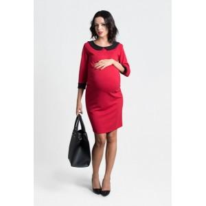 Červené těhotenské šaty s ozdobným límcem