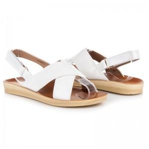 Nízké dámské sandály na léto bílé barvy