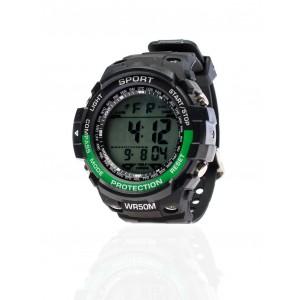 Pánské sportovní hodinky se zeleným detailem