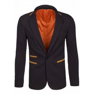 Moderní černé pánské sako s loketními nášivkami