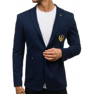 Stylové modré pánské sako s nášivkou