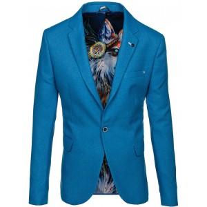 Modré pánské sako slim fit