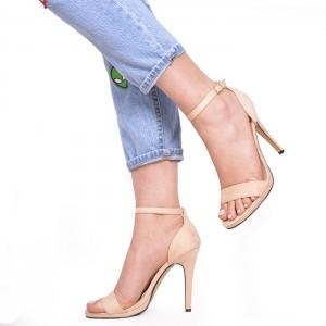 Béžové semišové dámské sandály na vysokém podpatku