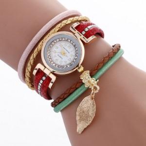 Červené dámské ozdobné hodinky s přívěskem