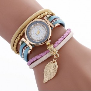 Dámské ozdobné hodinky světle modré barvy