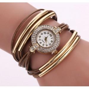 Ozdobné náramkové hodinky hnědé barvy