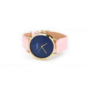 Růžové dámské hodinky s koženým páskem
