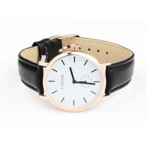 Dámské kožené hodinky černé barvy