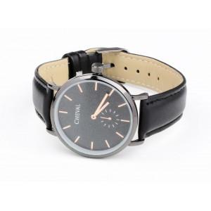 Stylové černé hodinky s koženým řemínkem