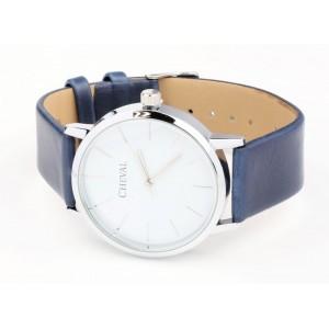 Jednoduché modré hodinky s koženým řemínkem