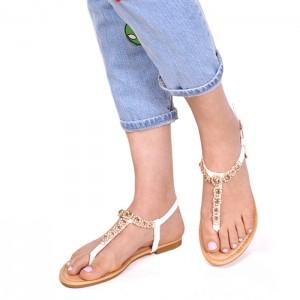 Letní bílé sandálky s kamínky