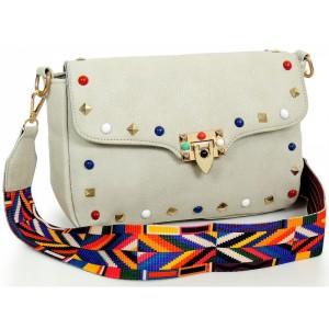 Šedá dámská crossbody kabelka s barevným ramínkem