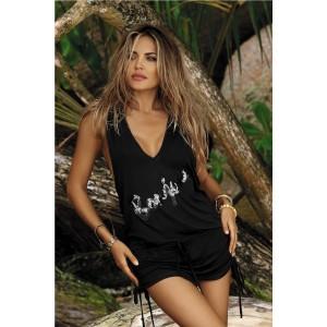 Černé plážové šaty s nápisem
