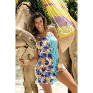 Modré plážové šaty s květinami