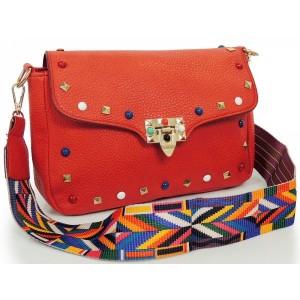 Červená crossbody dámská kabelka s kamínky