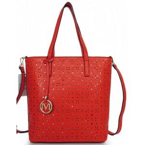 Vzorovaná dámská shopper kabelka červená