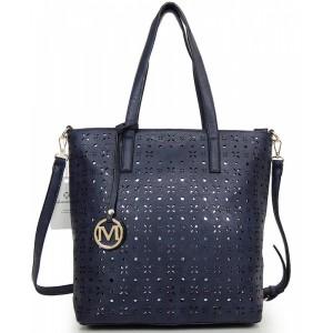 Tmavě modrá shopper kabelka pro dámy