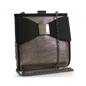 Lesklá večerní kabelka s mašlí