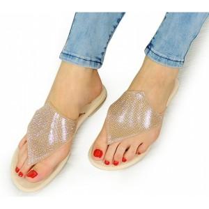 Zlaté dámské sandály s kamínky na léto