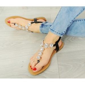 Letní černé dámské sandály s kamínky