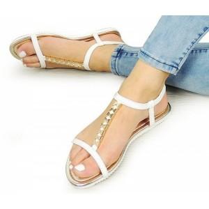 Elegantní bílé dámské sandály s otevřenou špičkou a patou