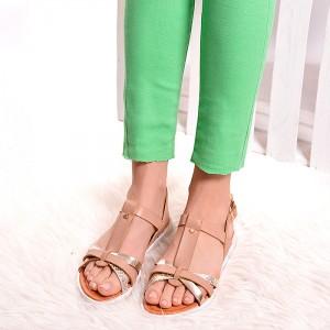 Béžové dámské sandály se zapínáním kolem kotníku