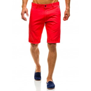 Bavlněné pánské kraťasy červené barvy