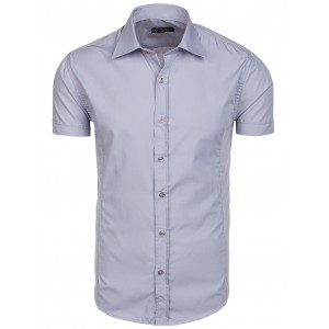 Šedá pánská košile s krátkým rukávem na každou příležitost