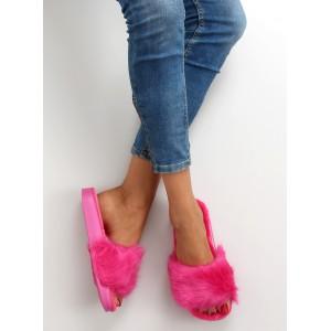 Růžové dámské chlupaté nazouváky