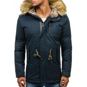Modré pánské zateplené zimní bundy s kožešinou zimu