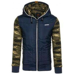 Modrá pánská přechodná bunda s army rukávy