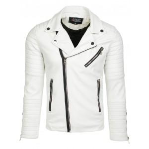 Bílá kožená pánská bunda se zipem na rukávech