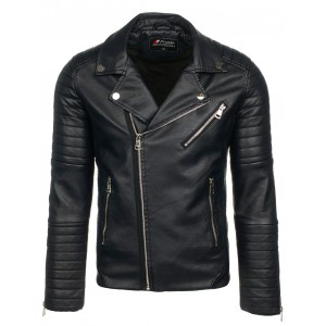Čierna pánska kožená bunda na zips