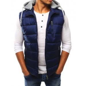 Tmavě modrá pánská vesta s kapucí