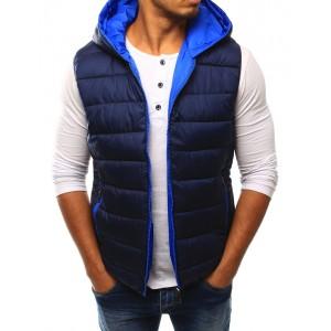 Tmavě modrá pánská vesta s kapsami a kapucí